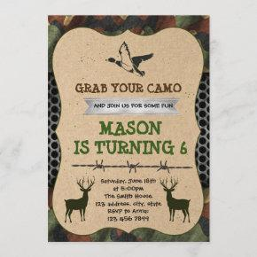 Camouflage hunting party invitation