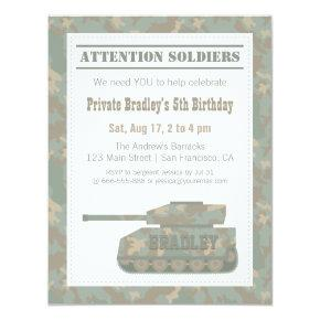 Camouflage Military Print Army Tank Birthday Party Invitation