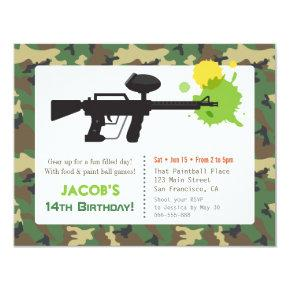 Camouflage Print Paint ball Birthday Party Invitations