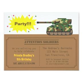 Camouflage Print Tank Boy Birthday Party Invitations