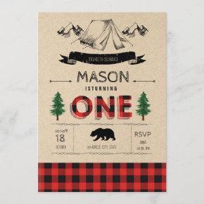 Camp lumberjack party tem invitation