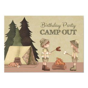 Camp Out Birthday Party Invitation for boy or girl