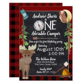 Camper Buffalo Plaid 1st Birthday Camping Invitation