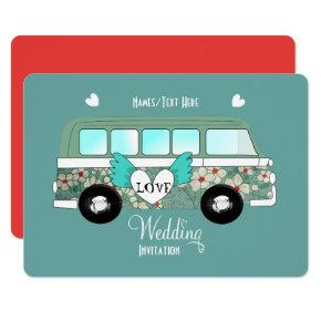 Camper Van Love Hearts Fun Romantic Wedding Party Invitation