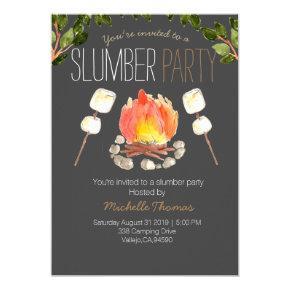 campfire slumber party camping invitation