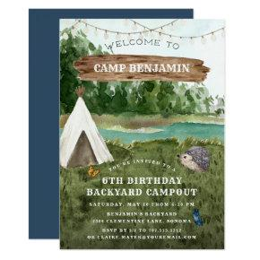 Camping Adventure Birthday Party Invitations