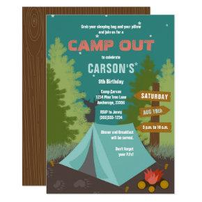 Camping Birthday Camp Out Invitations