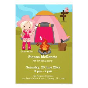 Camping birthday girl invitation