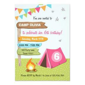 Camping Birthday Invitation Girl birthday Glamping
