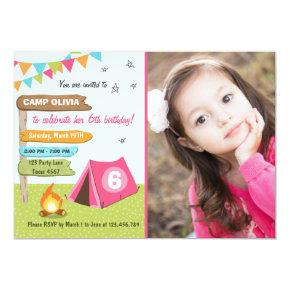 Camping Birthday Invitations Girl birthday Glamping