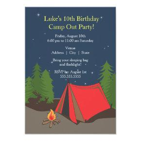 Camping Birthday Party | Boy Invitations