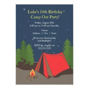 Camping Birthday Party | Boy Invitation