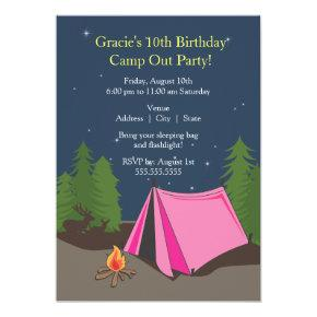 Camping Birthday Party | Girl Invitations