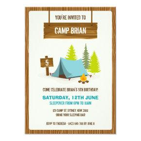 Camping Birthday Party Invitations - Boy