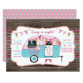 Camping Birthday Party Invitations - Girl Glamping