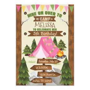 Camping Birthday Party Invitation Invite Girl