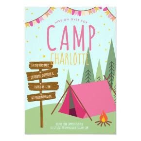 Camping Birthday Party Invitations Pink Green
