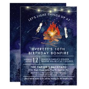 Camping Bonfire Birthday Party Invitation