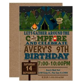 Camping Cam Birthday Party Invitation Camp out