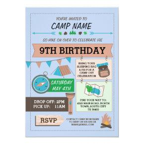 CAMPING Camp Out BUG BIRTHDAY PARTY boys invite