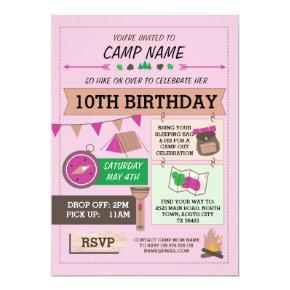 CAMPING Camp Out BUG BIRTHDAY PARTY GIRLS invite