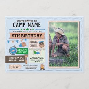 CAMPING Camp Out Photo BIRTHDAY PARTY boys invite