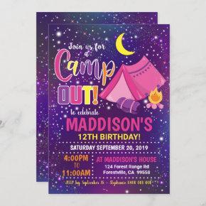 Camping Invitation Girl Camp Invitation