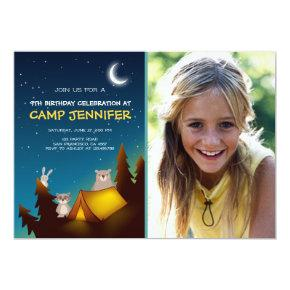 Camping Party Invitations Birthday Camp out Woods