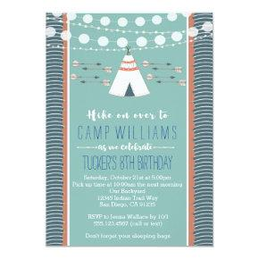 Camping Sleepover Boy Birthday Invitations