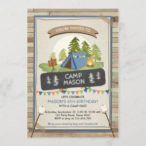 Camping Tent Invitation Birthday Camp out Boy