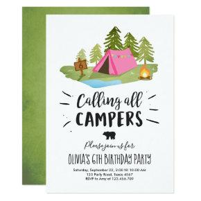 Camping Tent Invitation Birthday Camp out Girl