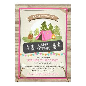 Camping Tent Invitations Birthday Camp out Girl