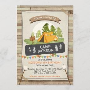Camping Tent Invitation Birthday Camp out Glamping