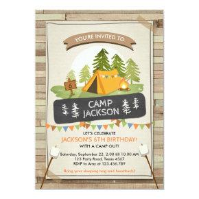 Camping Tent Invitations Birthday Camp out Glamping