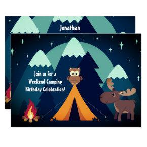 Camping, Tent, Woodland Animals Mountain Birthday Invitation