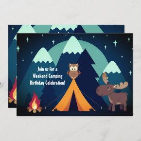 Camping, Tent, Woodland Animals Mountain Birthday Invitation