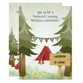 Camping, Tents and Campfire Woodland Birthday Invitation