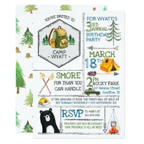 Camping Themed Party - Badges & Icons Card