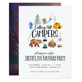 Camping Themed Party Invitations