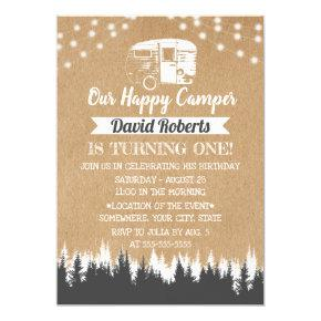 Camping Trailer Happy Camper Rustic Kraft Birthday Invitations