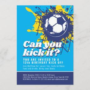 Can you kick it soccer 12th birthday party blue invitation