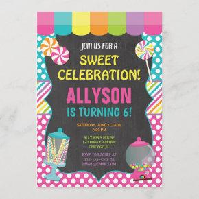 Candy candyland rainbow birthday party girl invitation