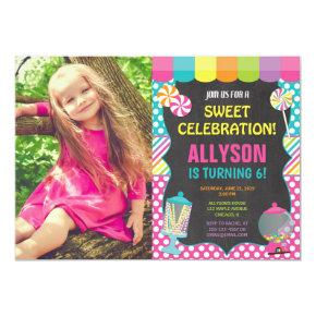 Candy candyland rainbow birthday party photo invitation