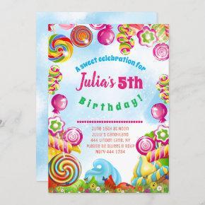 Candy Dreams Birthday Party Invitation