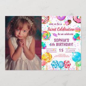 Candy Land Girl Birthday Sweet Celebration Photo Invitation