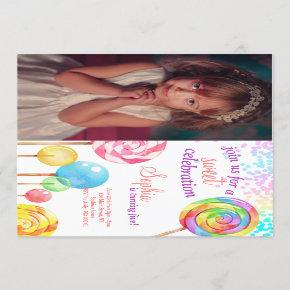 Candy Land Girl Birthday Sweet Lollipops Invitation