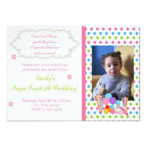 Candy Lollipop Sweet Birthday Photo Invitations