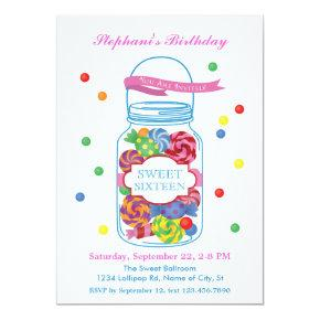 Candy Mason Jar Sweet Sixteen Invitations