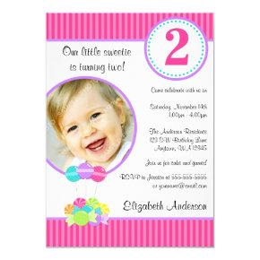 Candy Stripes Girl Photo Birthday Invitations