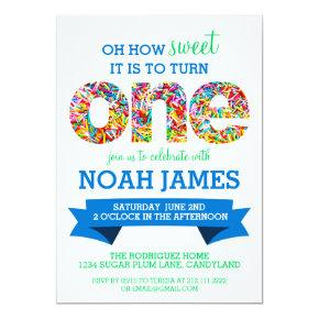 Candy Theme 1st Birthday Party Sprinkles BLUE Invitation